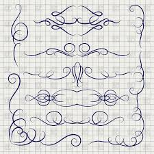 ballpoint pen drawing decorative ornaments on notebook page royalty