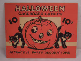 set of 4 vintage paper halloween decorations with original