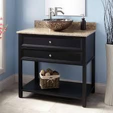 Open Vanity Bathroom Mesmerizng Black Bathroom Vanity Solid Wood Base Construction 2