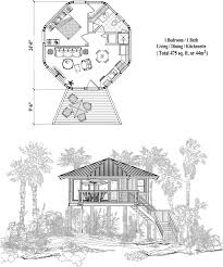 Octagon Home Plans Prefab Homes House Plan 1 Bedrooms 1 Baths 475 Sq Ft Piling