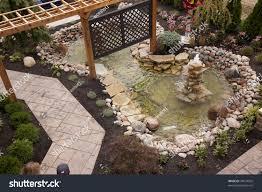 beautiful backyard fountain pool stock photo 44574565 shutterstock