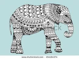 stylized elephant indian elephant animal ornamental stock vector