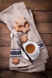 top view of cup of coffee with christmas cookies photo free download