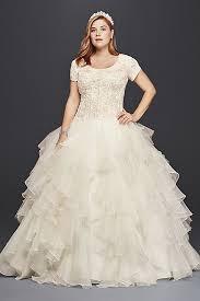 modest wedding dresses oleg cassini sleeve modest wedding dress david s bridal