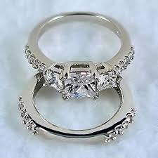 princess cut wedding set 2 64ct 3 princess cut on cz wedding set