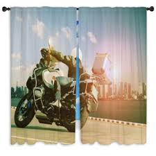 Harley Davidson Curtains And Rugs Motorcycle Custom Size Window Curtains