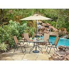 Patio Dining Set With Umbrella Outdoor 6 Folding Patio Dining Furniture Set
