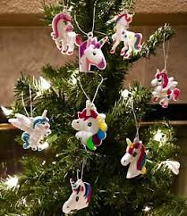 unicorn tree ornaments set of 8 small colorful