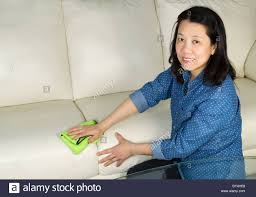 Cleaning White Leather Sofa by Horizontal Photo Of Mature Woman Looking Forward Cleaning White