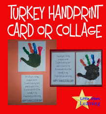 thanksgiving handprint turkey little stars learning turkey handprint cards with free poetry