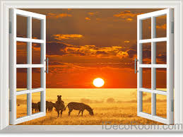 zebra african grassland sunset cloud 3d window view removable wall zebra african grassland sunset cloud 3d window view removable wall decals stickers home decor arts wall