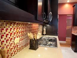 kitchen burgundy red glass mosaic wall tile stone kitchen