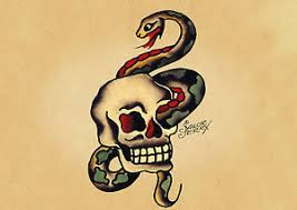 sailor jerry serpent and skull print poster 0017260
