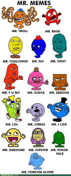 Meme Face List - mr men turned into rage faces mr memes the mary sue