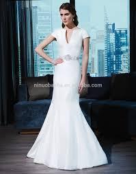2015 satin wedding dress v neck short sleeve long mermaid