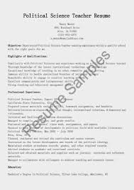 Teaching Resume Objectives Sample Cover Letter Resume Samples Political Science Teacher