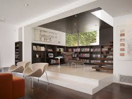 basement living room modern with open tread wood ceiling lounge chairs