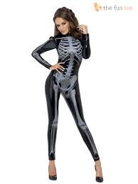 smiffys womens halloween fever skeleton catsuit ladies fancy dress