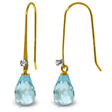 hook earrings 14k gold fish hook earrings w diamonds blue topaz