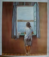 art gift oil painting canvas abstract oil paintings girl at window by salvador