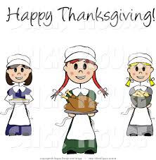thanksgiving greeting pictures clip art of happy thanksgiving stick pilgrim girls with food and a