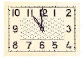 rectangular art deco design clock face showing eleven o u0027clock