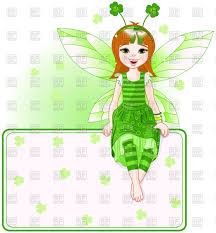 little cute fairy sitting on blank banner st patrick day