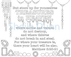 christian coloring page treasures in heaven featuring bible