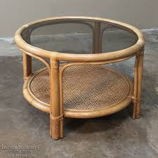 Rattan Coffee Table Mid Century Rattan Coffee Table With Glass Top Inessa Stewart S