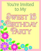 printable sweet 16 sixteen birthday party invitations