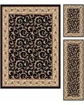 slash prices on tayse rugs laguna black botanical three piece rug set