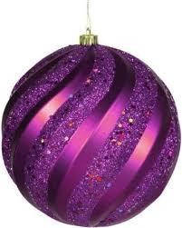 purple glitter swirl shatterproof ornament 6 150mm