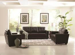 Pictures Of Living Rooms With Black Leather Furniture Black Leather Plus White Gray Rug On The White Tile Flooring