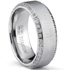mens titanium wedding bands oliveti brushed titanium men s cut cubic zirconia comfort