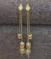 jhumki style earrings three jhumki style kundan kashmiri earrings worn in
