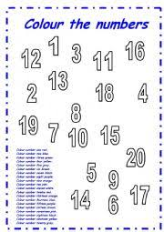 worksheet numbers colouring