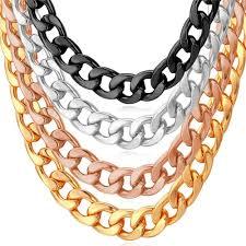 gold chain necklace wholesale images Cuban link chain necklace wholesale rose gold black gun silver jpg