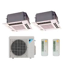 ductless mini split cassette daikin 2 zone 18k btu heat pump with two 2 9k btu ceiling