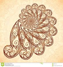 vector fractal spiral in henna tattoo style stock vector image