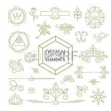design element set mono line ornamental decoration in gold