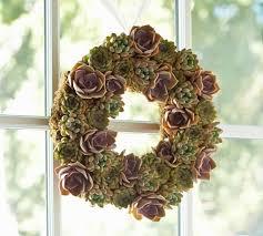 succulent wreath live succulent wreath pottery barn
