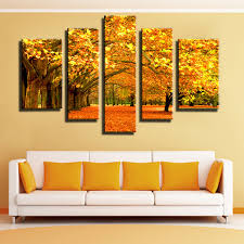 gold leaf home decor aliexpress com buy 5 panel autumn gold leaves modular pictures