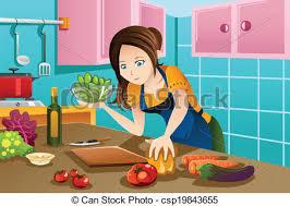 femme en cuisine nourriture saine femme cuisine cuisine femme clipart