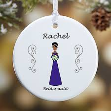 personalized wedding ornament bridal party characters 1 sided
