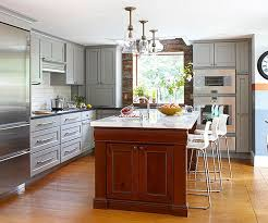 Gray Cabinets With White Countertops Contrasting Kitchen Islands