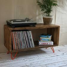 tv board industrial rustic industrial hairpin leg scaffold board record player