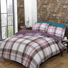 harper plum checked duvet cover set chiltern mills