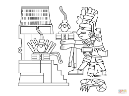 xiuhtecuhtli the aztec god of fire day and heat coloring page