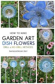 how to make a garden art dish flower repurpose thrift and dishes