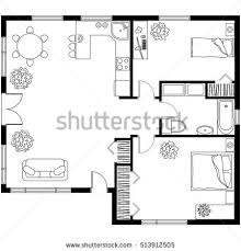 house layout black white architectural plan house layout stock vector 513912505